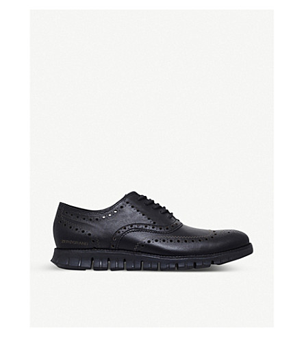 COLE HAAN ZERØGRAND leather oxford shoes (Black