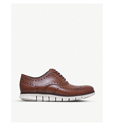 COLE HAAN ZERØGRAND Wingtip leather dress shoes (Brown
