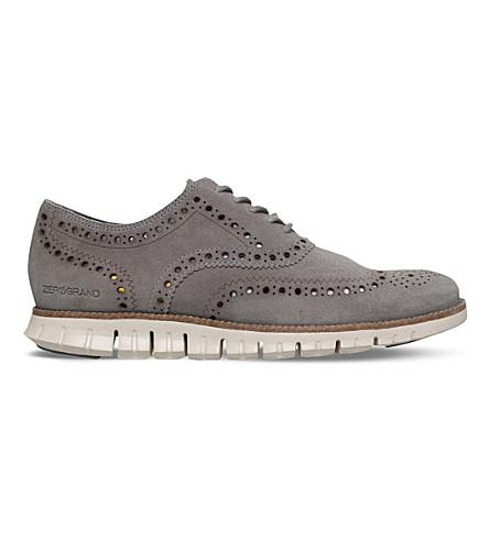 COLE HAAN ZERØGRAND Wingtip suede dress shoes (Grey