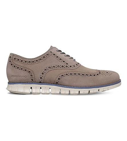 COLE HAAN ZERØGRAND Wingtip suede dress shoes (Beige