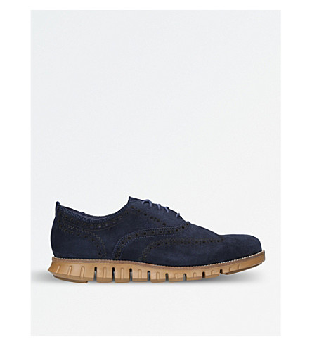 COLE HAAN ZERØGRAND Wingtip suede Oxford shoes (Navy