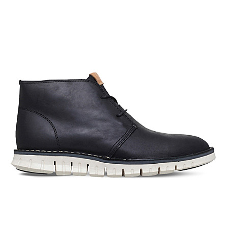 COLE HAAN ZERØGRAND leather chukka boots (Black
