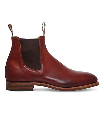 R M WILLIAMS Chinchilla burnished leather Chelsea boots (Tan