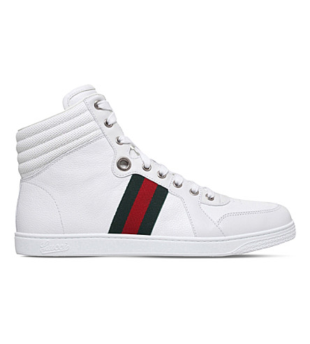 GUCCI Coda striped leather trainers (White