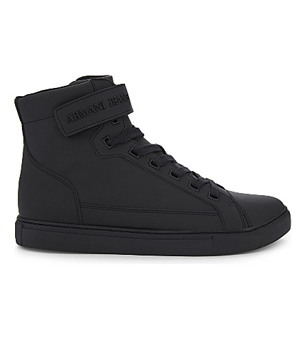 ARMANI JEANS High-top leather trainers (Black