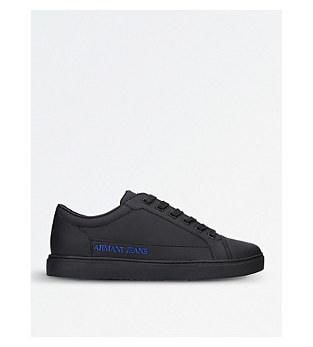 ARMANI JEANS Logo-detail rubber trainers (Black