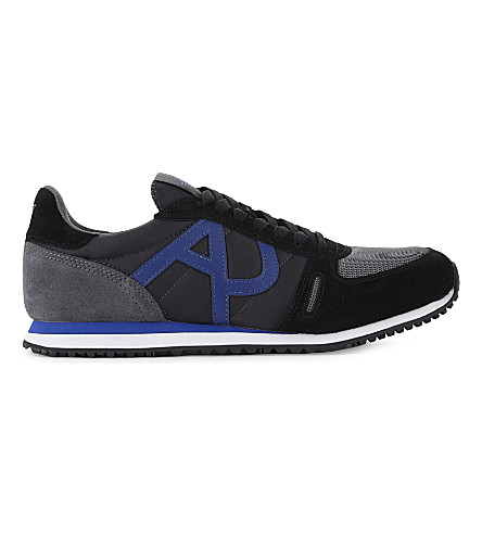 ARMANI JEANS nylon runner trainers (Grey/m.cmb