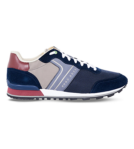 BOSS G Parkour suede and mesh trainers (Navy