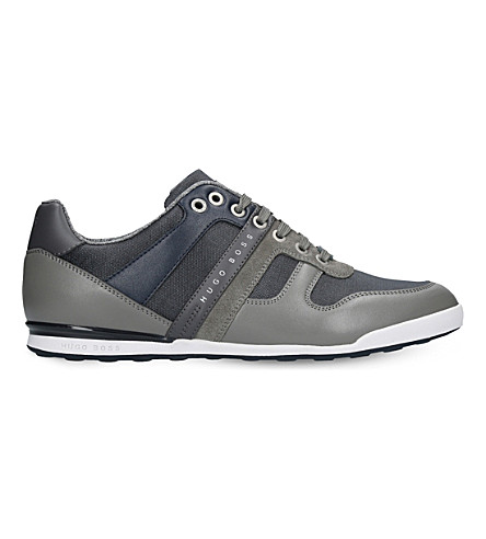 BOSS Arkansas leather and denim trainers (Grey/light
