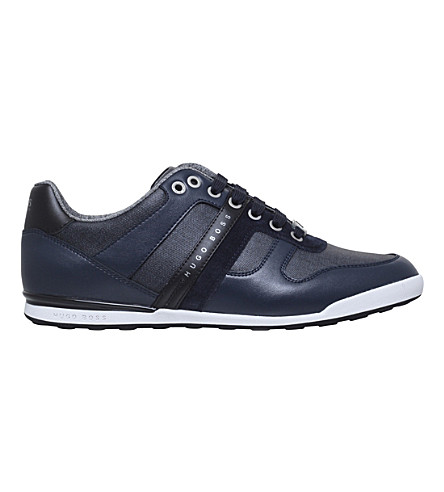 BOSS Arkansas leather and denim trainers (Navy