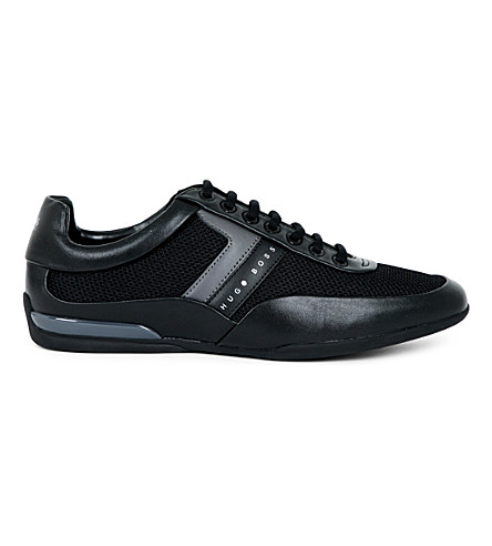 BOSS G Space leather and mesh trainers (Black