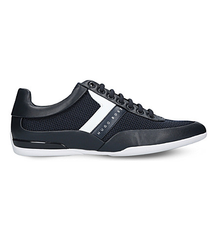 BOSS G Space leather and mesh trainers (Navy