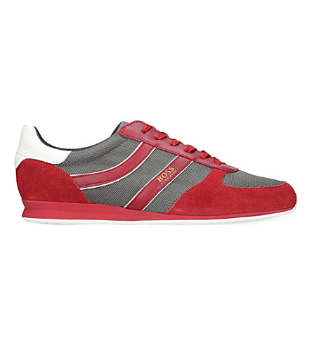 BOSS Orland Runn suede and mesh trainers (Red