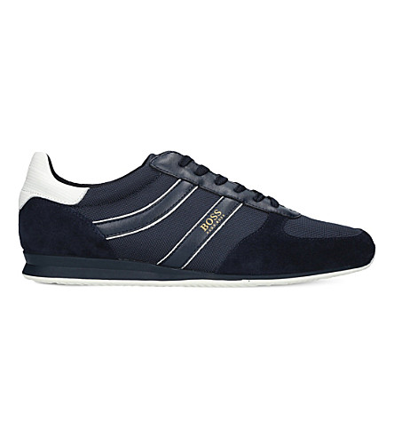 BOSS Orland Runn suede and mesh trainers (Navy