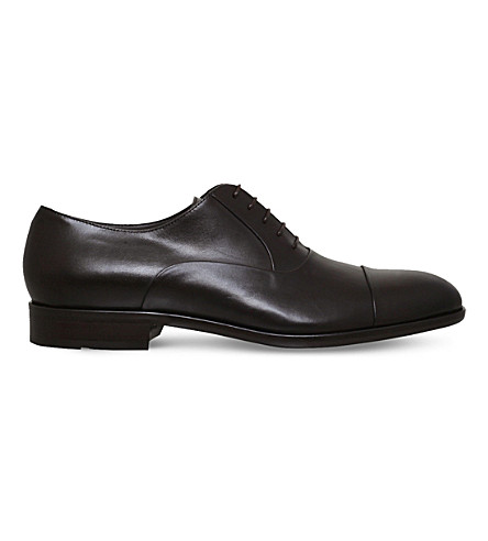 BOSS Bristol lace-up leather Oxford shoes (Dark+brown