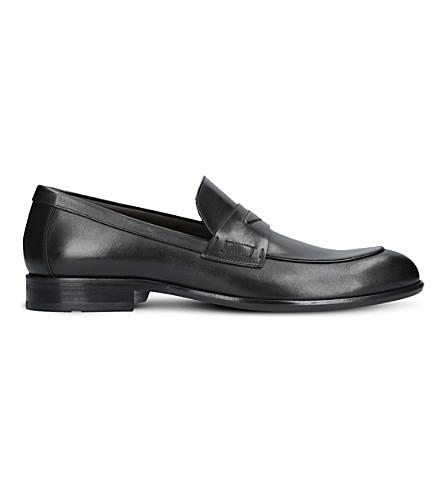 BOSS Manhattan leather penny loafers (Black