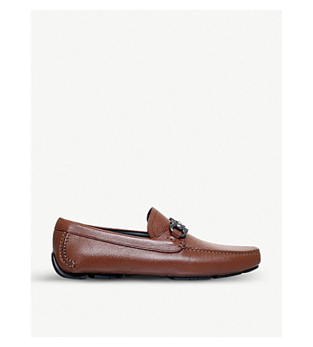 SALVATORE FERRAGAMO Parigi 皮革乐福鞋 (棕褐色