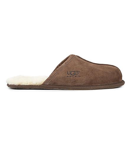 羊皮拖鞋 (深色 + 棕色