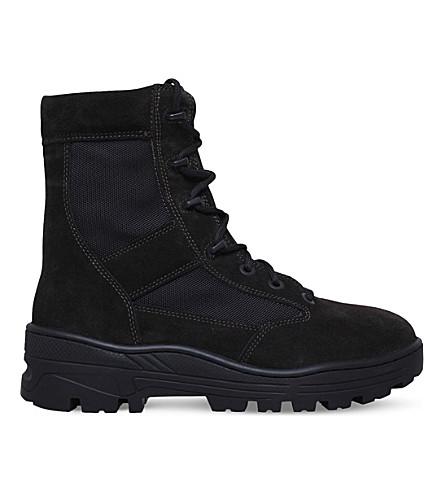 YEEZY Combat suede and nylon-canvas boots (Dark brown
