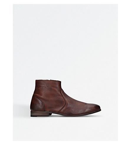 KURT GEIGER LONDON 里斯真皮踝靴 (中腰 + 棕