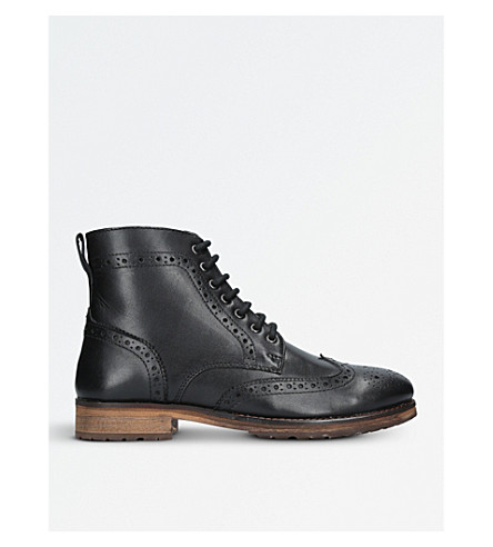 KURT GEIGER LONDON Harry leather brogue ankle boots (Black