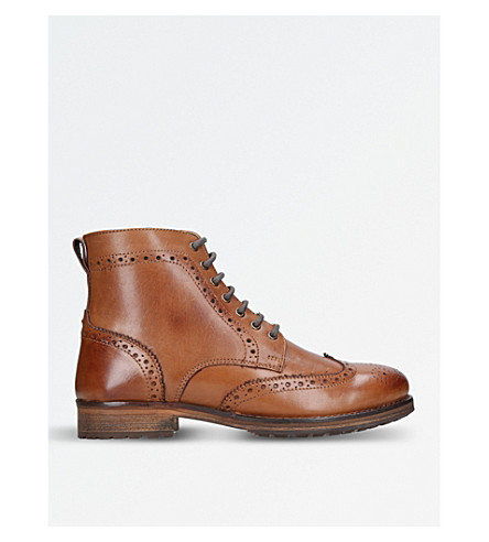 KURT GEIGER LONDON Harry leather brogue ankle boots (Tan