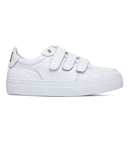 AMI PARIS Basket three-strap leather trainers (White