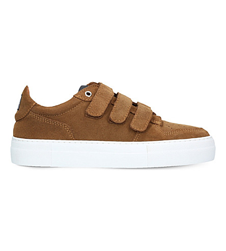 AMI PARIS Basket three-strap suede trainers (Brown