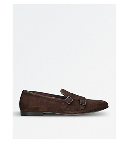KURT GEIGER LONDON Albus suede buckle monk shoes (Tan