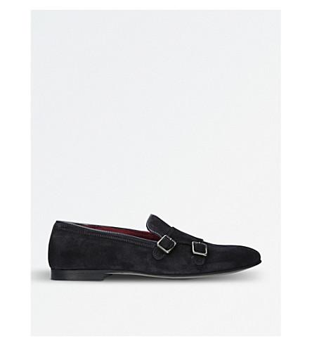 KURT GEIGER LONDON Albus suede buckle monk shoes (Navy