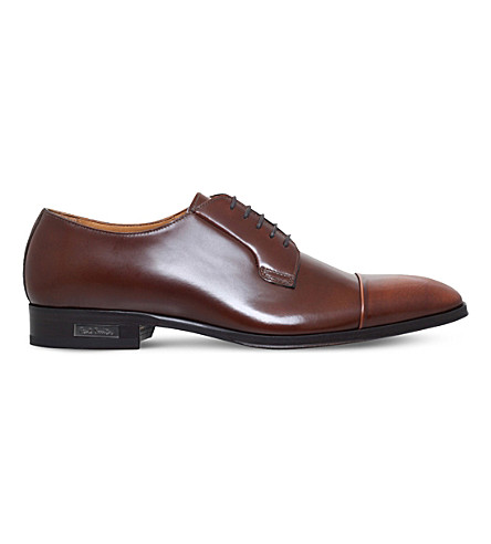 PAUL SMITH Spencer leather derby shoes (Tan