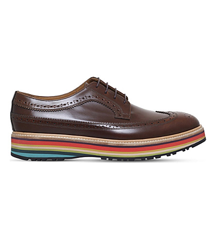 PAUL SMITH Grand leather Derby shoes (Tan