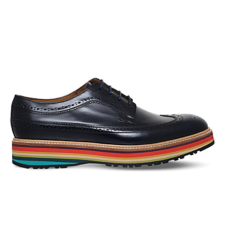 PAUL SMITH Grand leather Derby shoes (Navy