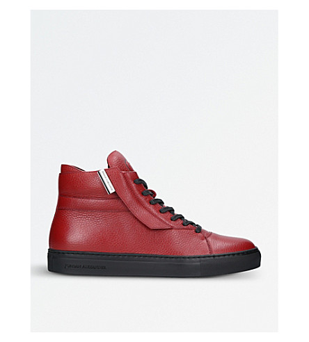 JAD Corsa leather high-top trainers (Wine+comb