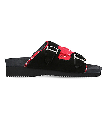 MYTHOGRAPHY Bandana slide suede sandals (Red