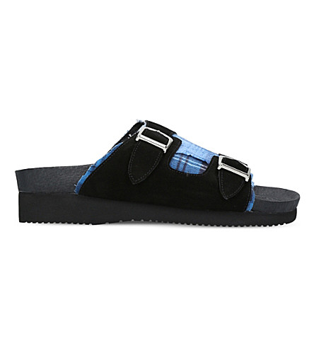 MYTHOGRAPHY Plaid suede slide sandals (Blue