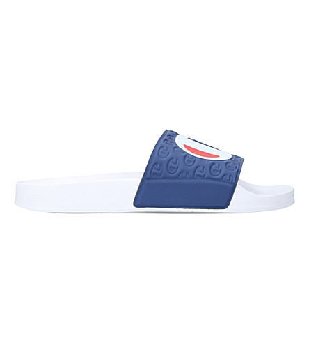 CHAMPION Logo rubber pool slides (White