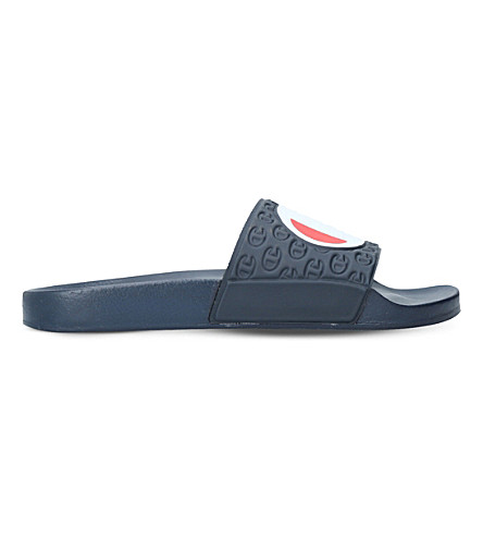CHAMPION Logo rubber pool slides (Navy