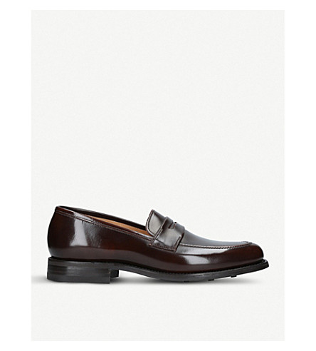 LOAKE 211 leather Saddle loafers (Dark+brown