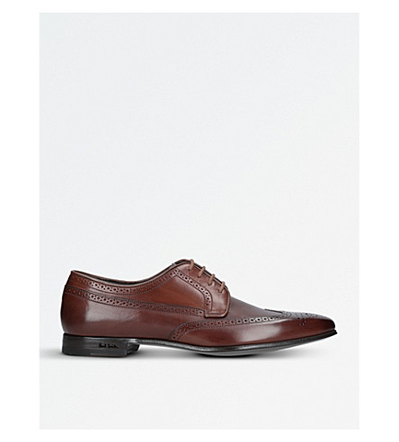 PAUL SMITH Watson leather Derby shoes (Tan