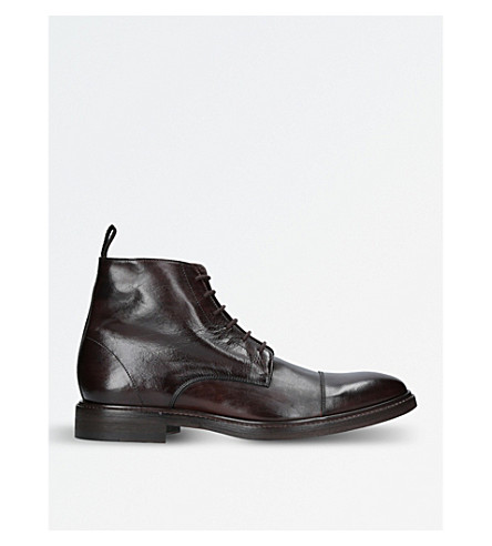 PAUL SMITH Jarman leather boots (Dark+brown