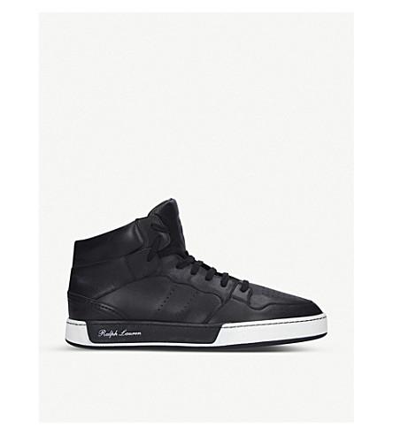 RALPH LAUREN PURPLE LABEL Giancarlo high-top leather trainers (Black