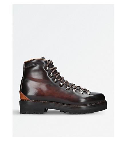 RALPH LAUREN PURPLE LABEL Fidel leather mountain boots (Dark+brown