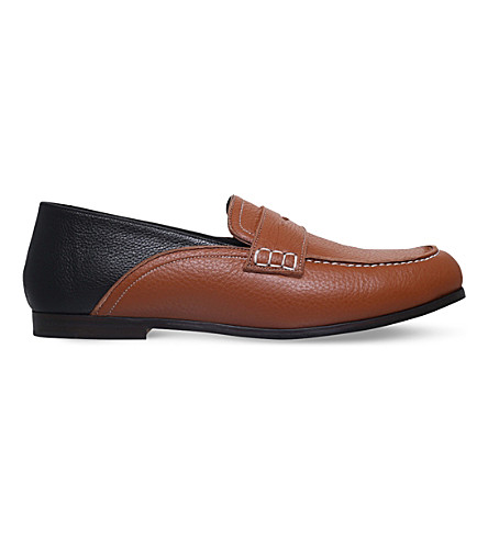 LOEWE Two-tone leather loafers (Tan+comb