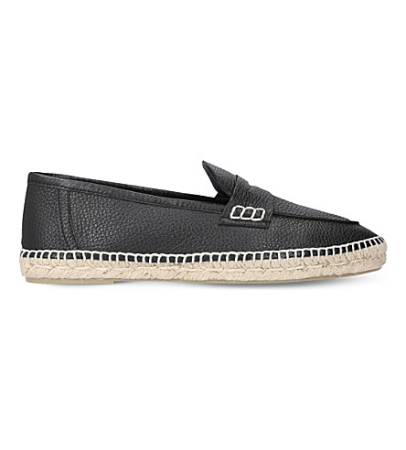 LOEWE Loafer leather and jute espadrille (Black