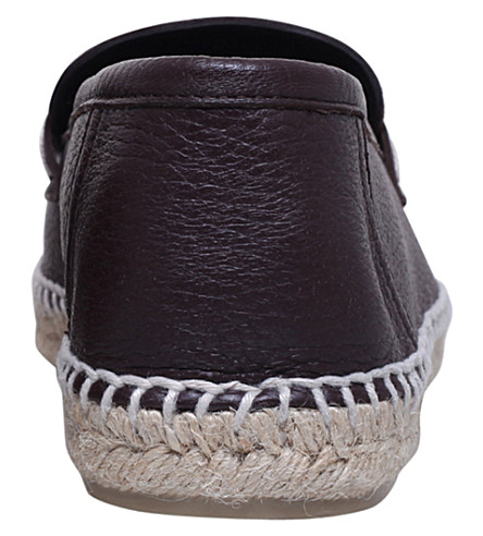 LOEWE Loafer Leather And Jute Espadrille in Brown