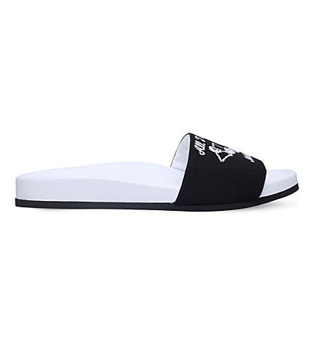 JOSHUA SANDERS I do nothing canvas slide sandals (Blk/white