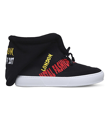 JOSHUA SANDERS Slogan-print canvas trainers (Blk/white