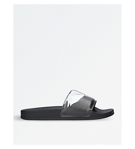 MARCELO BURLON Aish leather pool sliders (Blk/white