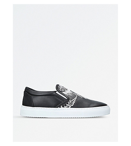 MARCELO BURLON Asher embroidered leather trainers (Blk/white